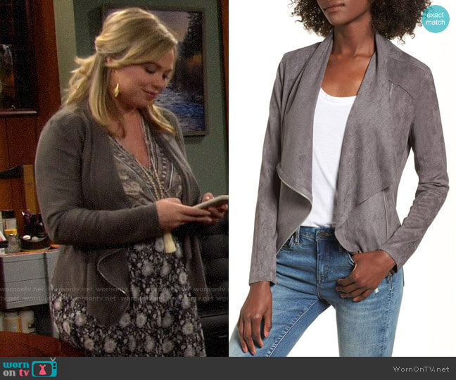 Blank NYC Faux Suede Drape Front Jacket worn by Kristin Baxter (Amanda Fuller) on Last Man Standing