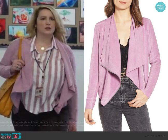 Faux Suede Drape Front Jacket by BlankNYC worn by Davia (Emma Hunton) on Good Trouble