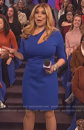 Wendy's blue slash cutout bodycon dress on The Wendy Williams Show