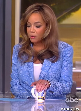 Sunny's blue floral print blazer on The View