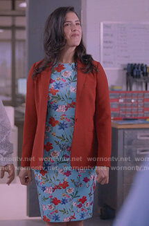 Shannon's blue floral print sheath dress on Kims Convenience