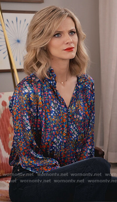 Mallory's blue floral satin shirt on Grace and Frankie