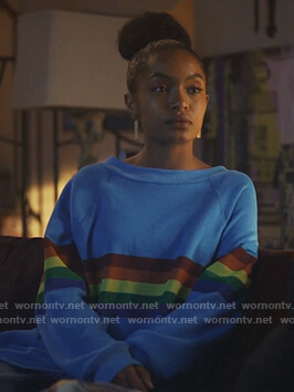 Zoey's blue rainbow stripe sweatshirt on Grown-ish