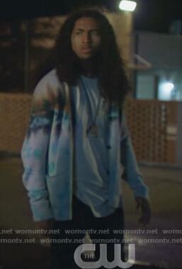 Brandon's tie dye cardigan on Black Lightning