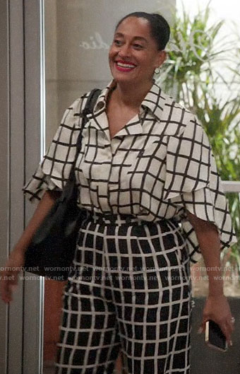 Rainbow's black and white checked blouse and trousers on Black-ish