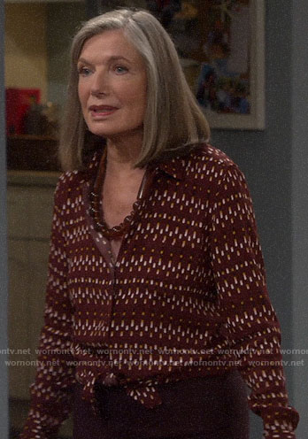 Bonnie's red printed button down blouse on Last Man Standing