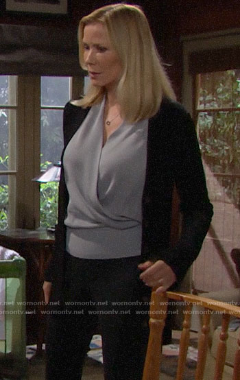 Brooke's grey cross front blouse on The Bold and the Beautiful