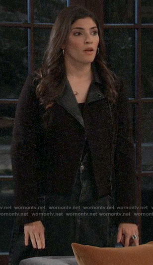 Brook Lynn's black moto jacket with leather collar on General Hospital