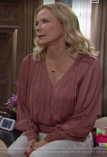 Brooke's rose pink pleated blouse on The Bold and the Beautiful