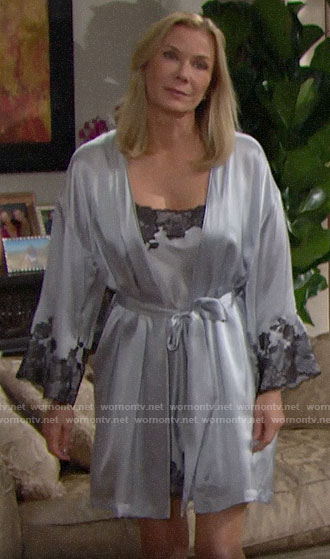 Brooke's silver lace trim robe and chemise on The Bold and the Beautiful