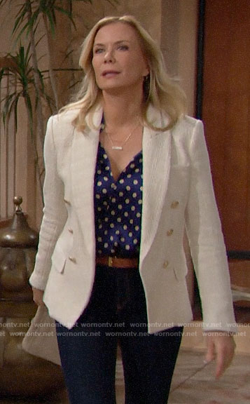 Brooke's blue printed blouse and ivory tweed blazer on The Bold and the Beautiful