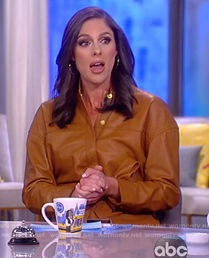 Abby's leather button jumpsuit on The View