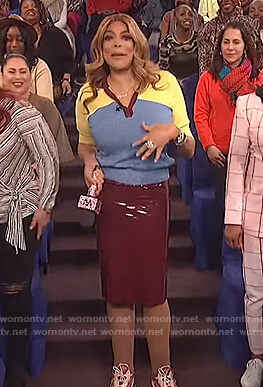 Wendy's colorblock polo and burbundy skirt on The Wendy Williams Show