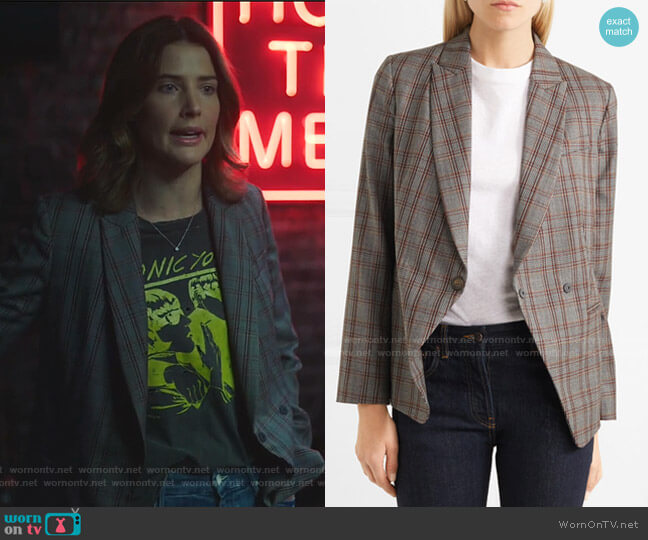 Peak-Lapel Plaid Blazer with Leather Wrap Belt by Brunello Cucinelli worn by Dex Parios (Cobie Smulders) on Stumptown
