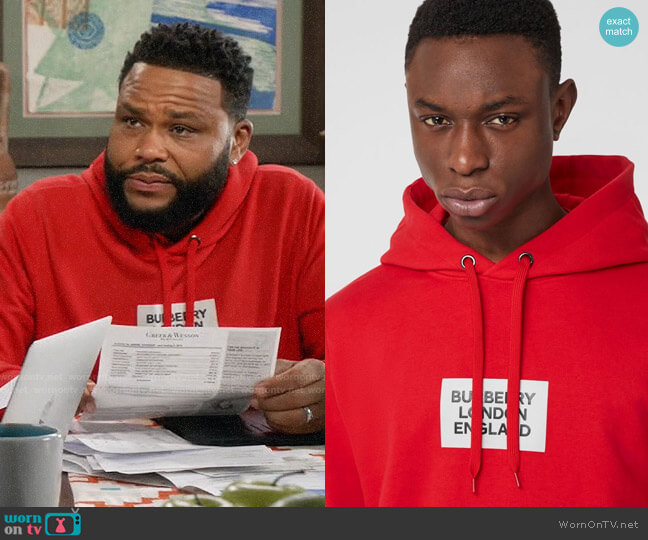 Burberry Logo Print Cotton Hoodie in Bright Red worn by Andre Johnson (Anthony Anderson) on Blackish