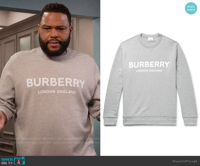 Burberry Logo-Print Mélange Loopback Cotton-Jersey Sweatshirt worn by Andre Johnson (Anthony Anderson) on Blackish