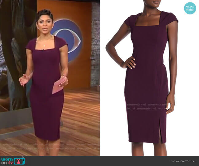 Cap Sleeve Sheath Dress by Calvin Klein worn by Jericka Duncan  on CBS This Morning