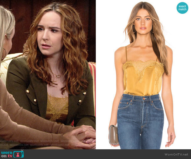 Cami NYC The Sweetheart Charmeuse Cami in Gold worn by Mariah Copeland (Camryn Grimes) on The Young & the Restless