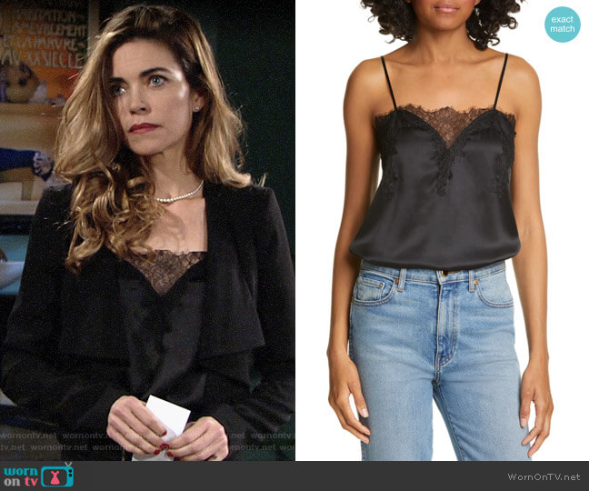 Cami NYC The Sweetheart Silk Charmeuse Camisole worn by Victoria Newman (Amelia Heinle) on The Young & the Restless