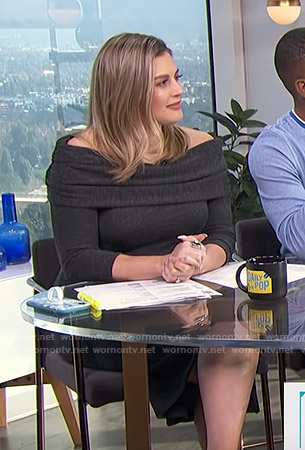 Carissa's black off-shoulder knit dress on E! News Pop