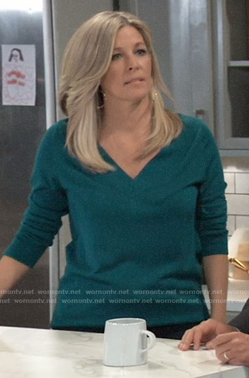 Carly's teal green v-neck sweater on General Hospital