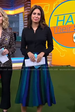 Cecilia's blue and green striped skirt on Good Morning America