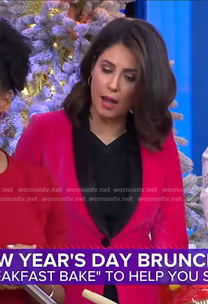 Cecilia's pink velvet blazer on Good Morning America