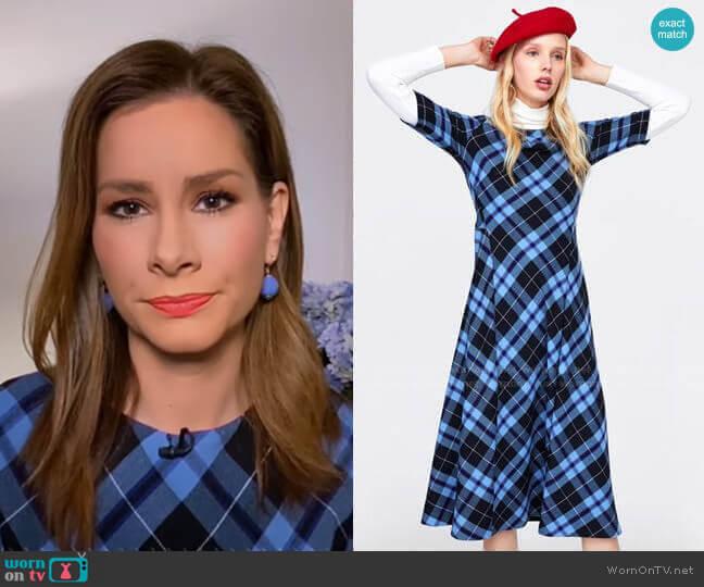 Check Print Dress by Zara worn worn by Rebecca Jarvis  on Good Morning America