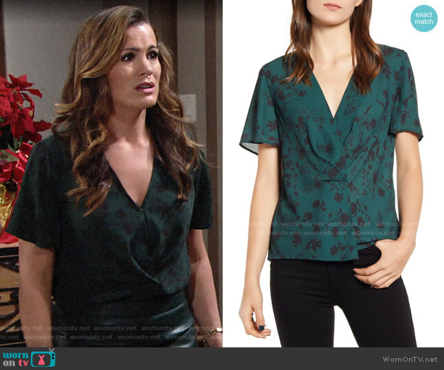 Chelsea28 Tuck Front Top in Green Park Floral Vine worn by Chelsea Lawson (Melissa Claire Egan) on The Young & the Restless