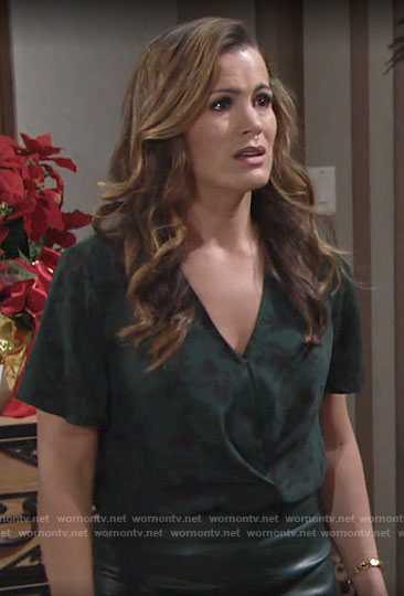 Chelsea's green floral v-neck top on The Young and the Restless