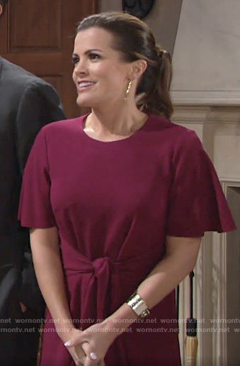 Chelsea's magenta pink tie waist dress on The Young and the Restless
