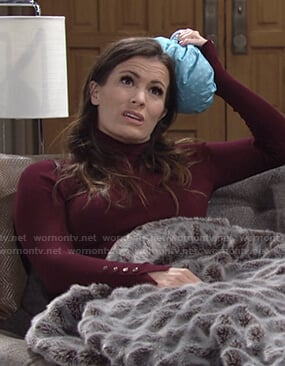 Chelsea's burgundy buttoned cuff turtleneck sweater on The Young and the Restless
