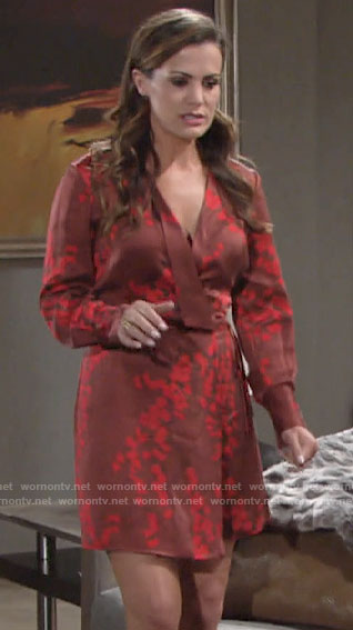 Chelsea's red floral wrap dress on The Young and the Restless