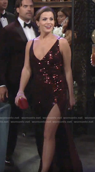 Chelsea's red sequin NYE dress on The Young and the Restless