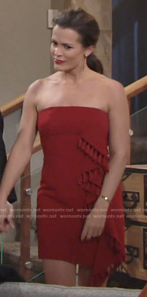 Chelsea's red strapless fringed side ruffle dress on The Young and the Restless