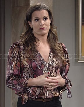 Chelsea's snake print v-neck blouse on The Young and the Restless