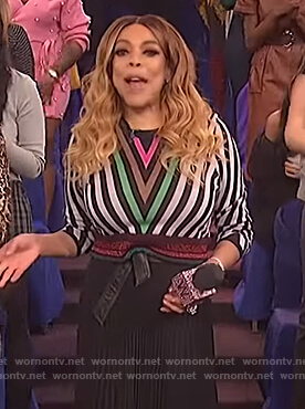 Wendy's cropped chevron sweater on The Wendy Williams Show