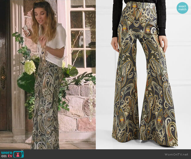 Metallic Jacquard Flared Pants by Chloe worn by Alexis Rose (Annie Murphy) on Schitts Creek