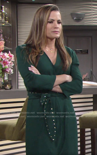 Chelsea's green studded belt dress on The Young and the Restless