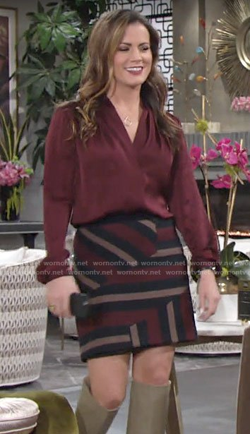 Chelsea's red v-neck blouse and striped skirt on The Young and the Restless