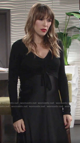 Chloe's black satin dress and drawstring top on The Young and the Restless