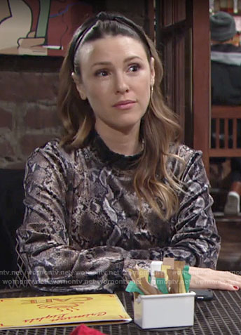 Chloe's snake print top on The Young and the Restless