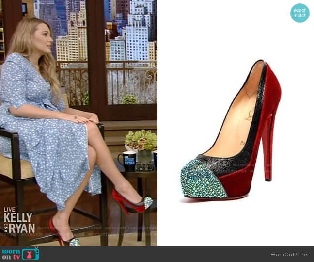 Calypso Pumps by Christian Louboutin worn by Blake Lively on Live with Kelly and Ryan
