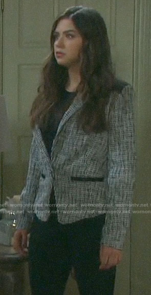Ciara's studded houndstooth blazer on Days of our Lives