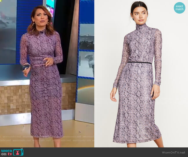 Python Turtleneck and Olympia Skirt by Cinq a Sept worn by Ginger Zee  on Good Morning America
