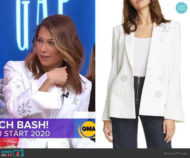 Rumi Embellished Blazer by Cinq a Sept worn by Ginger Zee  on Good Morning America