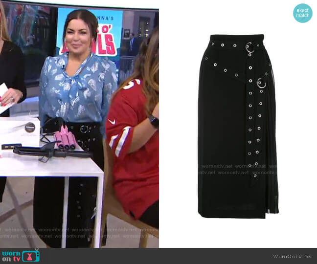 Tess Grommet Double Belt Crepe Midi Skirt by Cinq a Sept worn by Bobbie Thomas on Today Show