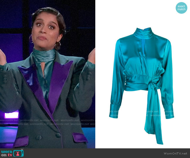 Cinq a Sept Jacqueline Blouse worn by Lilly Singh  on A Little Late with Lilly Singh