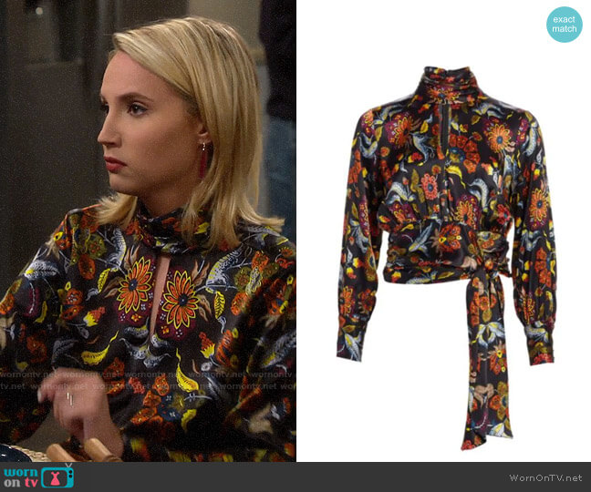 Cinq a Sept Jacqueline Paisley Blouse worn by Mandy Baxter (Molly McCook) on Last Man Standing