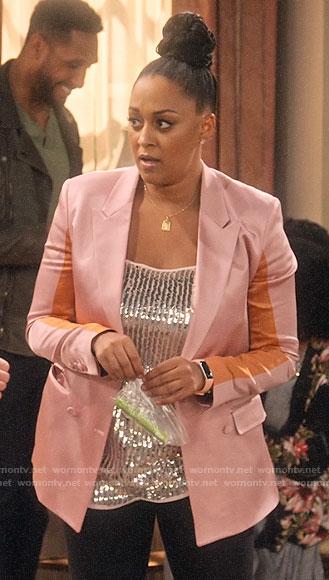 Jade's navy blazer and plaid skirt on Family Reunion